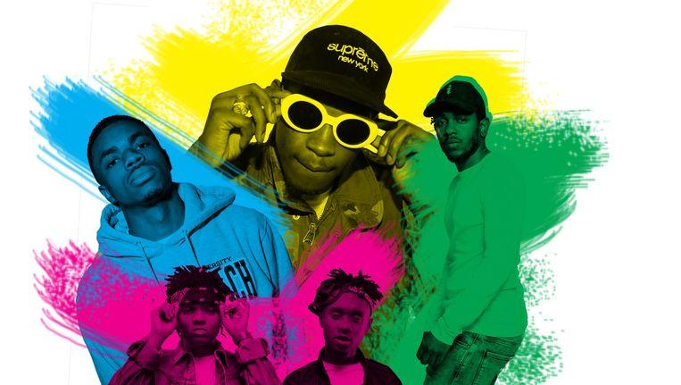 Van links: Vince Staples, het duo Rae Sremmurd, A$AP Rocky, Kendrick Lamar Beeld Studio V