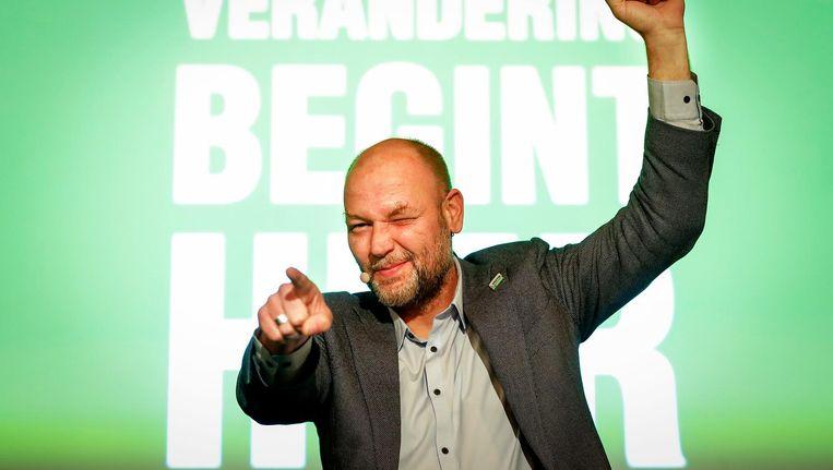 Rutger Groot Wassink van GroenLinks tijdens de uitslagenavond van de gemeenteraadsverkiezingen. Beeld anp