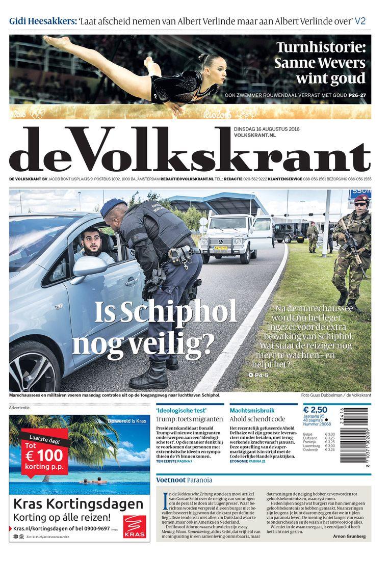 De voorpagina van de Volkskrant van dinsdag 16 augustus. Beeld