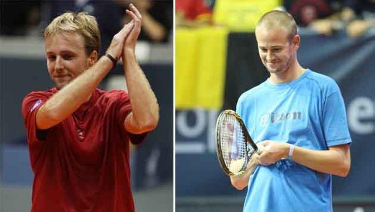 Christophe Rochus (l) en Kristof Vliegen met een sneer naar ex-tennisman Steven Martens.