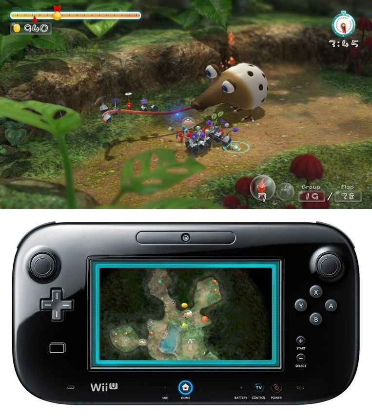 In 'Pikmin 3' wordt de Wii U GamePad een kaart.