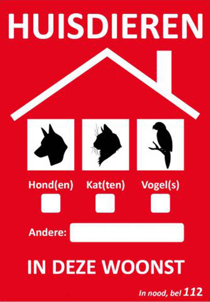 Sticker wijst hulpdiensten op huisdieren in brandende woning