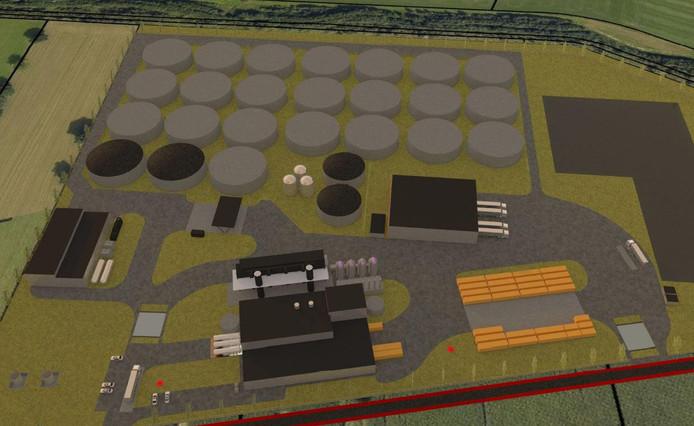 Een illustratie van de bioraffinagefabriek, zoals de mestvergister volgens de aanvraag wordt genoemd, zoals die bij de gemeente Oost Gelre is ingediend.