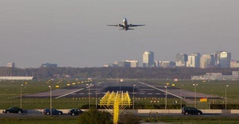 Een Boeing 737 van KLM tijdens een proefvlucht zaterdagavond. ANP Beeld