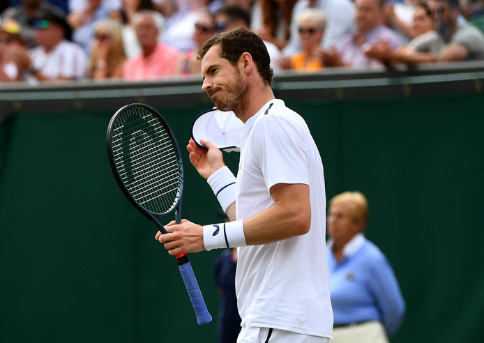 Andy Murray following defeat in the mixed doubles match against Bruno Soares and Nicole Melichar on day nine of the Wimbledon Championships at the All England Lawn Tennis and Croquet Club, Wimbledon. ! only BELGIUM !