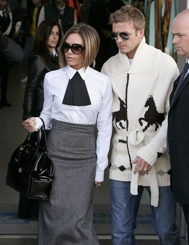 David Beckham en Victoria Beckham op de huwelijksdag van Tom Cruise en Katie Holmes.