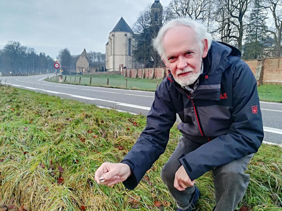 Paul Van Sanden vond op 8 januari 2018 de trouwring op deze plek bij de abdij van Averbode.