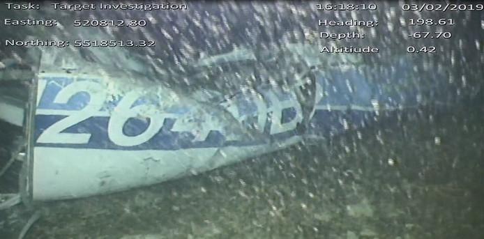 Onderwaterbeeld van het vliegtuigje waarin Sala zat.