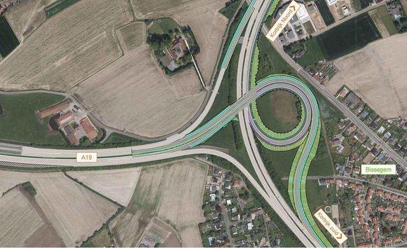 Zo zou de verkeerswisselaar er moeten gaan uitzien. Wie van de A19 de ring op wil richting Heule, rijdt via een brug over de R8, net zoals het verkeer uit de richting Bissegem.