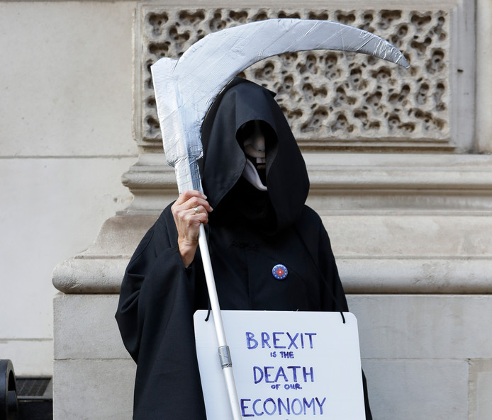 An anti-Brexit supporter zaterdag in Londen.
