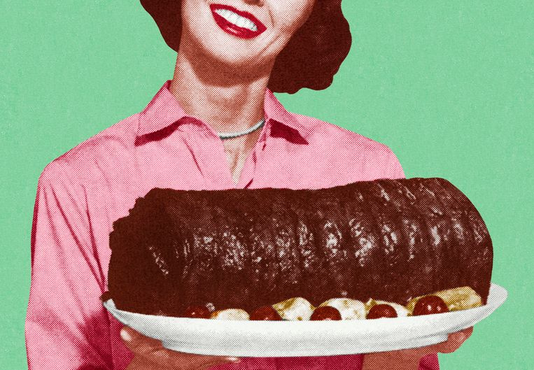 Woman Holding a Large Platter of Meat