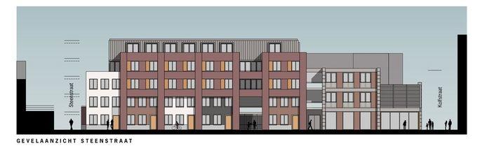 Gevelaanzicht van nieuwe wooncomplex in de Steenstraat in Dordrecht.
