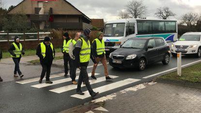 Gele hesjes blokkeren verkeer... Door drie uur lang zebrapad over te steken