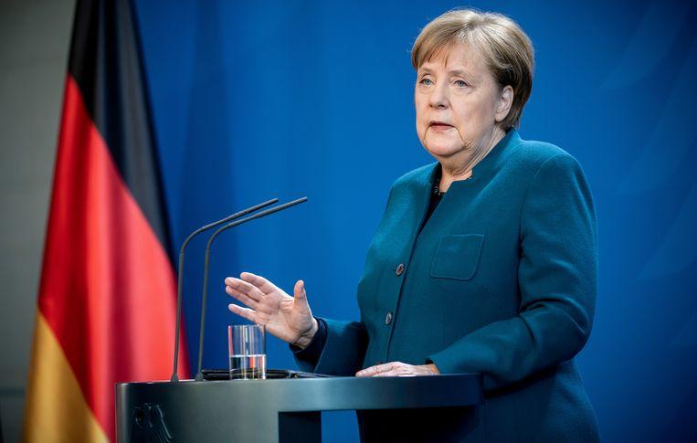 Angela Merkel zit sinds zondagavond in quarantaine in haar woning in Berlijn. De bondskanselier blijft wel werken.