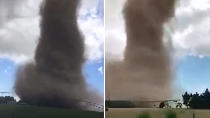 Spectaculaire beelden tonen grote tornado Nieuw-Zeeland
