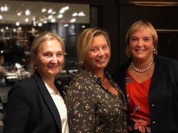 Ann van Severen (Leisele) past- en stichtend voorzitter, Veronique Neut (Leisele) huidig voorzitter 2019-2020 en Sylvie Tourlousse (Ramskapelle) voorzitter elect 2020-2021