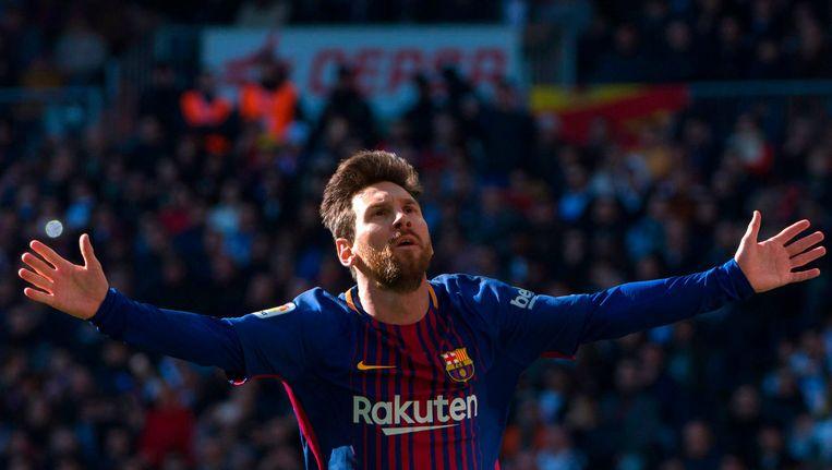 Lionel Messi nadat hij een doelpunt heeft gescoord tegen Real Madrid, afgelopen december. Beeld afp