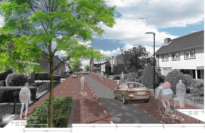 Een deel van de Traverse, in dit geval de Hoofdstraat in Heeswijk-Dinther zoals het moet worden na de herinrichting. Een smalle rijbaan in het midden, daarnaast fietsstroken en trottoirs.