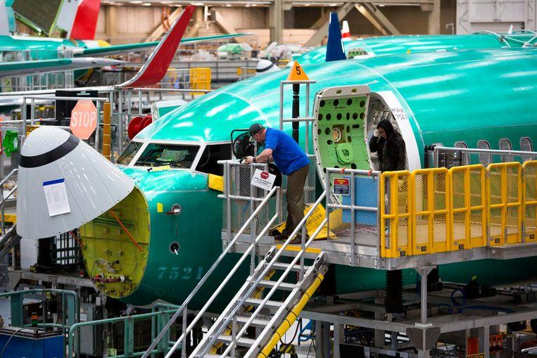 Een Boeing 737 MAX in de fabriek van Boeing in Renton.  Beeld AFP