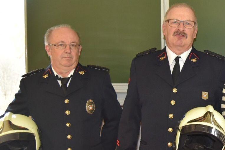 Gepensioneerde brandweermannen Marc  en François gehuldigd in Londerzeel