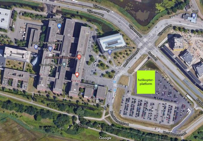 De locatie van het helikopterplatform bij het JBZ in Den Bosch.