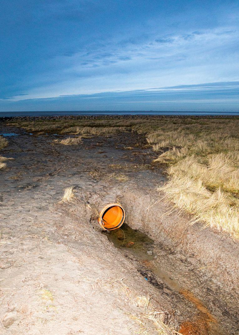 Een manier om het sediment op de hallig te laten liggen. De buis loopt lichtelijk af waardoor als de terp volstroomt, en vervolgens weer leegloopt, het sediment achterblijft maar het water terugloopt door de brede buis.  Beeld Hilde Harshagen