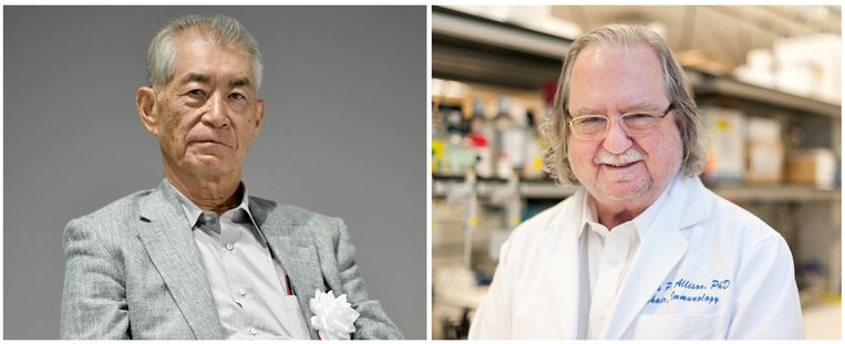 De kersverse Nobelprijswinnaars Tasuku Honjo (links) en James P. Allison (rechts). Beeld Reuters