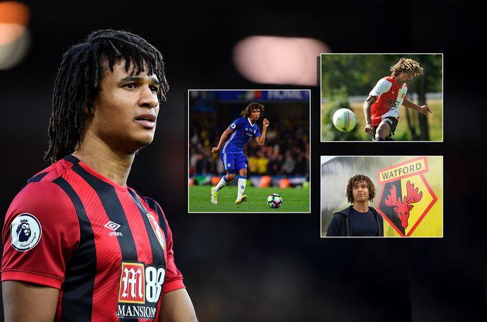 Nathan Aké. Inzetjes, met de klok mee: als speler van Chelsea, Feyenoord en Watford.
