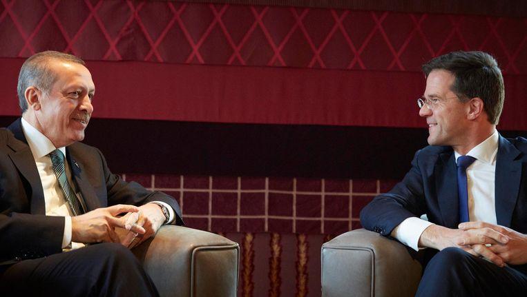 Premier Mark Rutte ontvangt de Turkse president Recep Tayyip Erdogan in het Catshuis in 2013. Beeld anp