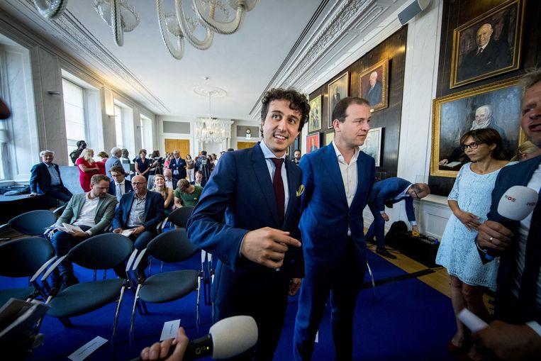 Partijleiders van GroenLinks (Jesse Klaver) en PvdA (Lodewijk Asscher). Beeld ANP