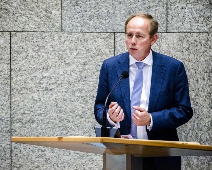 Kees van der Staaij (SGP) in de Tweede Kamer tijdens een debat.