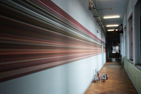 Een werk van de jonge kunstenares Marthe Coolens in het RTT-gebouw.