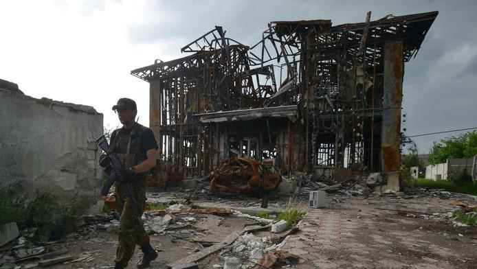 Oekraïense militair in Donetsk