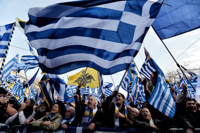 De betogers vrezen dat de naam Macedonië ook claims van dat land op de gelijknamige Griekse provincie zal voeden.