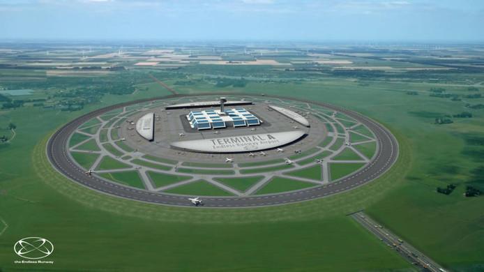 De landingsbaan vanaf bovenaf, met in het midden de terminals.