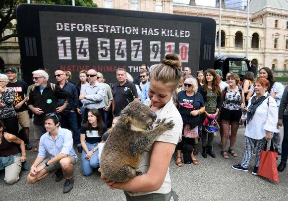 Beeld van een protestactie in Brisbane deze week tegen ontbossing.