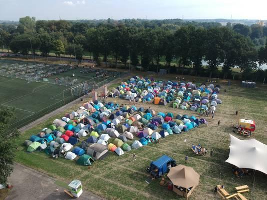 De camping tijdens de introductieweek.