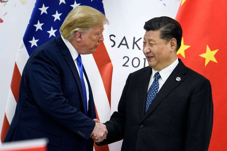 Xi Jinping en Donald Trump in Osaka. Beeld null