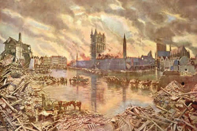Op oude kaartjes kan men nog goed de verwoestende kracht van de brand in de Lakenhalle zien.