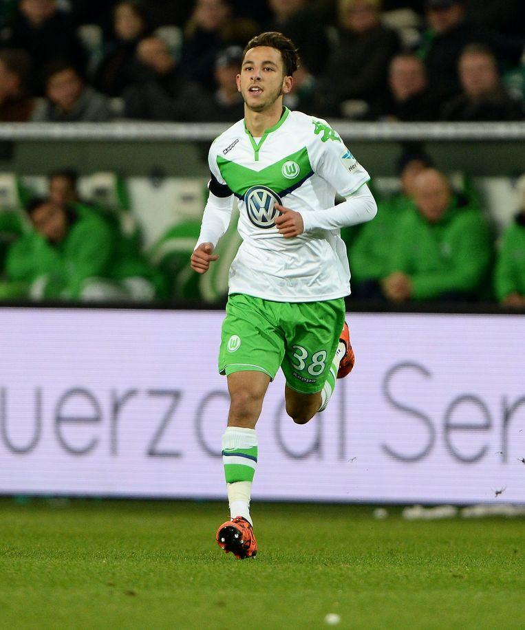 Azzaoui in het shirt van Wolfsburg.
