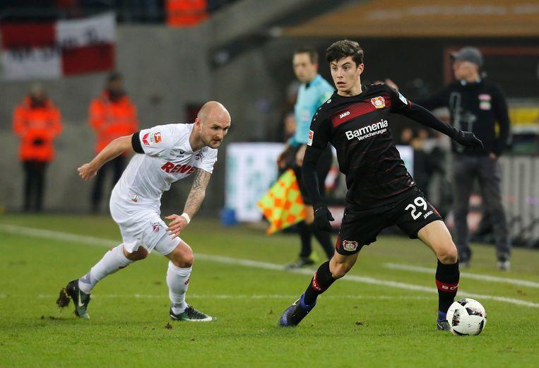 Kai Havertz (rechts) in een competitieduel met Leverkusen tegen FC Keulen.