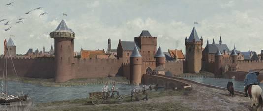 Reconstructie van de Tolsteegpoorten omstreeks 1500.  Rechts zijn de twee torens van de Nicolaikerk te zien.
