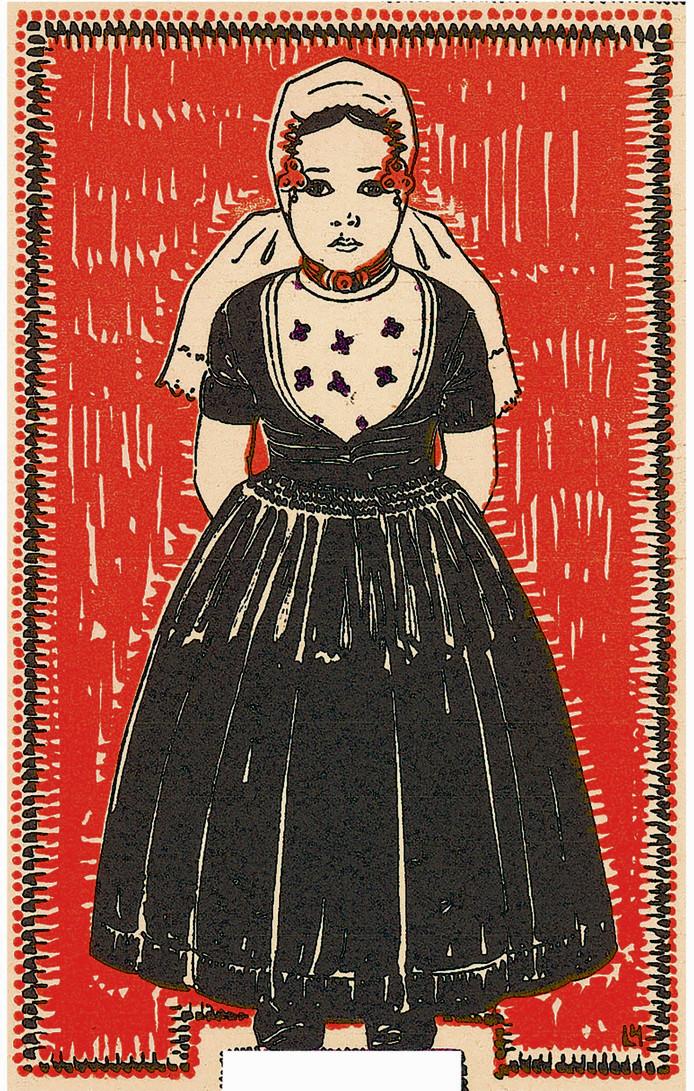 Affiche (uitsnede) voor een klederdrachtententoonstelling in Middelburg, 1924 Foto zeeuws archief - zelandia illustrata