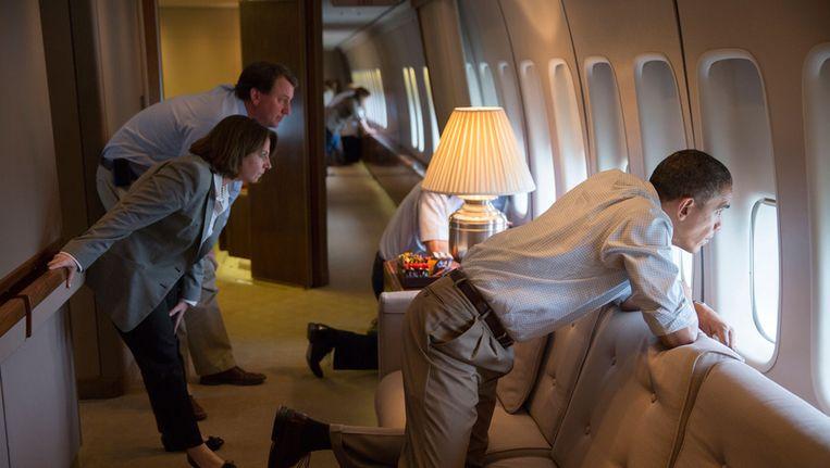 Archiefbeeld van Obama in de Air Force One Beeld bruno