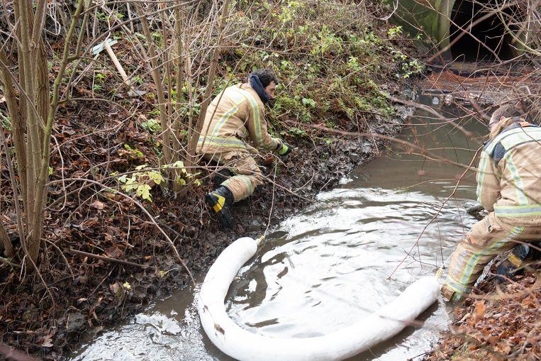 De brandweer legt absorberende dammen op de mazout uit de beek te halen.