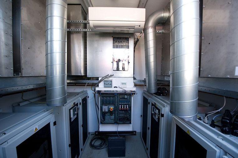 De buurtbatterij van binnen: kasten vol accu's en wat regelapparatuur. Beeld Enexis