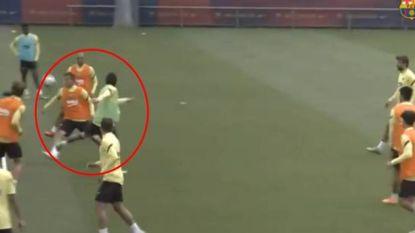 Héérlijke pass van Messi tijdens wedstrijdje op training bij Barça