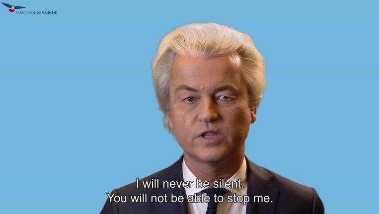 Geert Wilders reageerde vrijdagmiddag middels een Engels ondertitelde videoboodschap op het vonnis. Beeld ap