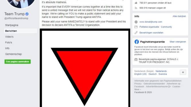 Facebook verwijdert advertentie tegen Antifa waarin Trump nazisymbool voor politieke gevangenen gebruikt