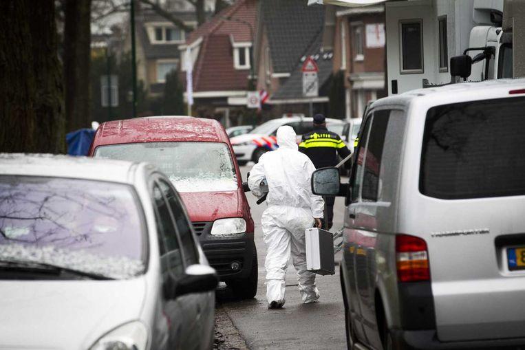 De forensische opsporing bij de woning van zakenman Koen Everink aan de Hoflaan waar hij dood is aangetroffen. Beeld ANP